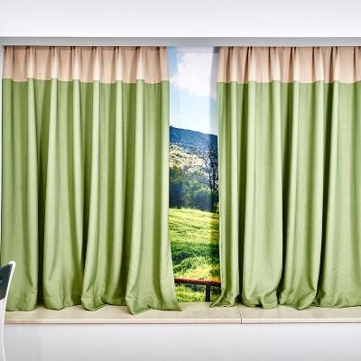 简约北欧风格小孩房绿色飘窗遮光遮阳布料防晒隔热窗帘