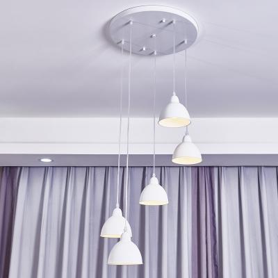 简约淡雅风格现代时尚鱼线型餐厅吊灯 灯光柔和白色灯罩