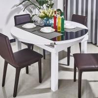 圆形黑白色钢化玻璃烤漆简约淡雅风格可拉伸圆桌餐厅餐桌