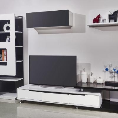 钢化玻璃黑白色带抽屉简约淡雅风格客厅电视柜