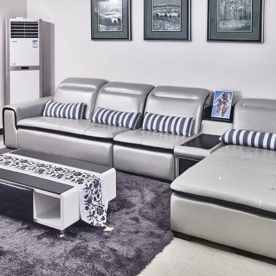 客厅家具时尚油蜡皮艺简约淡雅风格客厅三人位沙发