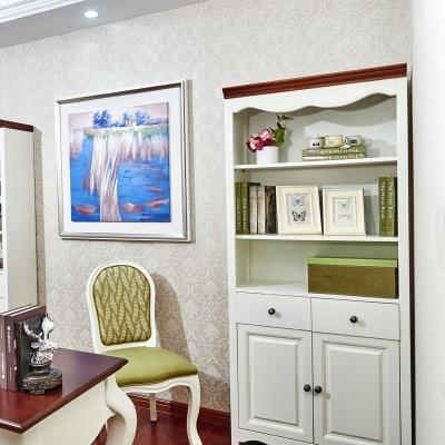 带门自由储物收纳组合怀古典雅风格书房落地烤漆书柜