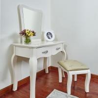 简欧风格小户型卧室抽屉式妆台+镜+凳 组合套装