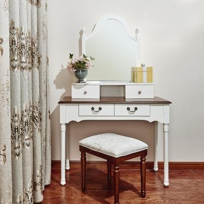 白色烤漆怀古典雅风格小户型卧室妆台+镜+凳 组合套装