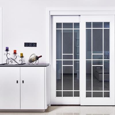 简约淡雅风格透明玻璃隔音复合烤漆厨房推拉门