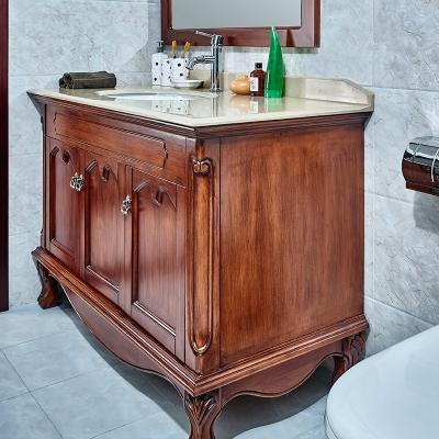 卫浴储物落地式怀古典雅风格卫生间浴室柜组合(含镜)