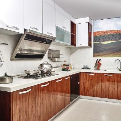 简约北欧风格厨房定做防潮白色收纳置物微晶板橱柜吊柜