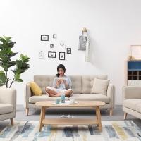 联邦 沙发 布艺沙发 北欧简约现代客厅组合沙发 可拆洗小户型三人位懒人沙发