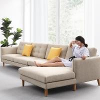 聯邦家具北歐風格實木布藝沙發客廳拐角可拆洗棉麻黃色貴妃小戶型