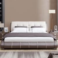 联邦家具简约现代弧形真皮床1.5米1.8双人床主卧室榻榻米软体皮床