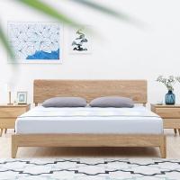 联邦家具北欧日式白蜡木实木床主卧简易板式经济型双人大婚床原木