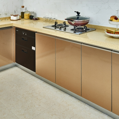 满足储物需求简欧风格金属UV门板橱柜地柜