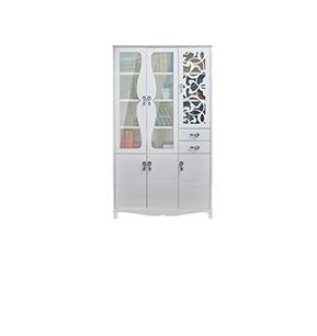 现代简欧多层带门白色烤漆自由储物落地收纳书房书柜